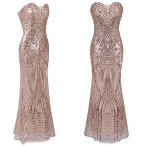 ROSE GOLD SEQUIN ILLUSION MAXI DRESS